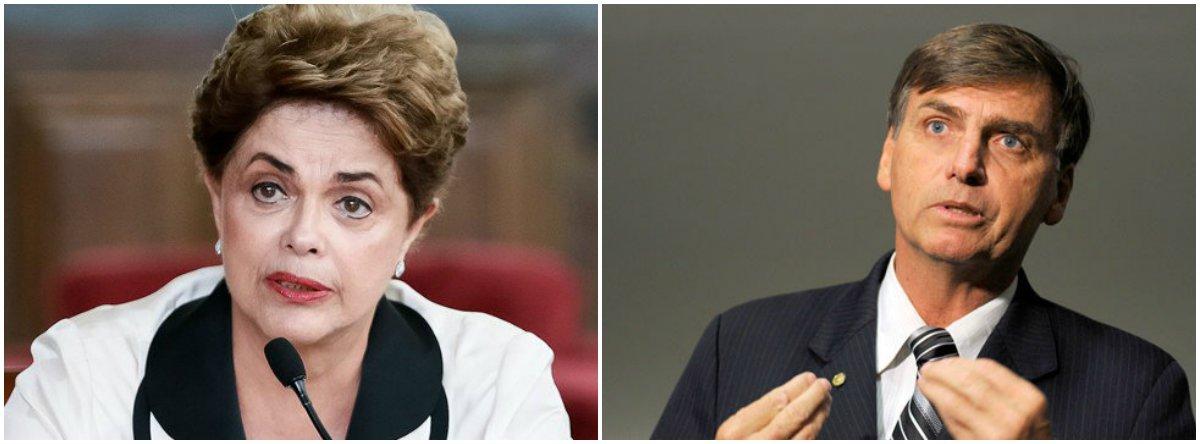 """Em entrevista exclusiva aos jornalistas Fernando Brito e Beth Costa, do Tijolaço, a presidente deposta pelo golpe Dilma Rousseff diz não acreditar que Jair Bolsonaro seja uma """"ficção"""", nem um produto militar; """"As Forças Armadas não têm nada a ver com o Bolsonaro"""", diz; """"Ele faz parte desse processo golpista que desencadeia um processo de intolerância, racismo, misoginia e que cria um antagonismo dentro do país porque trata todas as questões sociais como sendo produto de uma mente que quer se aproveitar do pobre"""", afirma; """"Nós temos uma experiência de candidatos feitos pela mídia. Mas um outsider hoje está se mostrando cada vez mais difícil de decolar"""", acredita"""