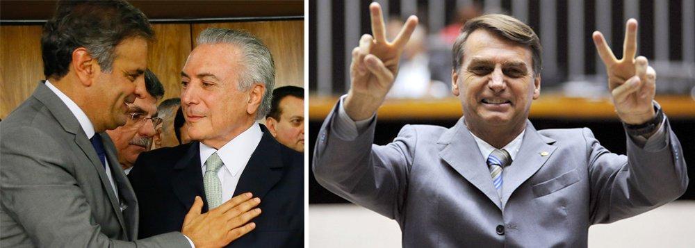 Senador mineiro Aécio Neves (PSDB-MG) conseguiu queimar todo o capital político que acumulou nas eleições presidenciais de 2014, quando quase venceu; inconformado com a derrota, aliou-se com Eduardo Cunha (PMDB-RJ), liderou um golpe parlamentar que arruinou a economia brasileira e para quê? para nada; a pesquisa CNT/MDA revela que Aécio, que já perdia para Marina Silva, foi ultrapassado até por Jair Bolsonaro; na pesquisa CNT/MDA, divuglada nesta quarta-feira, 15, Aécio aparece diminuto, com apenas 10,1%; estratégia do ódio, plantada pelos tucanos, favoreceu a direita radical – e não o PSDB