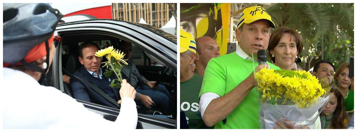 João Doria, flores, protesto, ciclistas .2