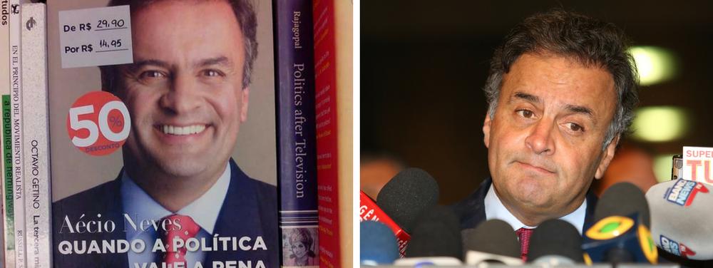 Não é só a carreira política do senador afastado Aécio Neves (PSDB-MG) que anda em baixa; suas atividades como escritor, também foram afetadas pelos recentes escândalos de corrupção em que ele se envolveu; o livro do tucano, que apareceu marcando traço na última pesquisa de intenção de votos para a Presidência, está com 50% de desconto nas livrarias