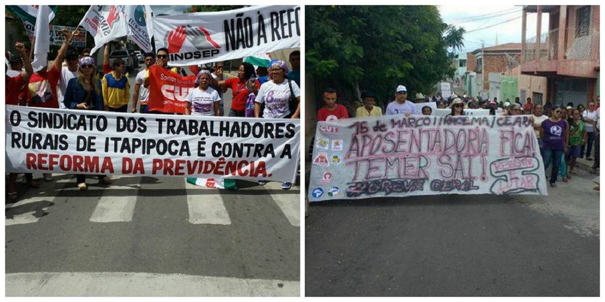"""No interior do Ceará, em diversos municípios, manifestantes também foram às ruas contra a Reforma da Previdência, mostrando a revolta com a proposta do governo Temer que retira os direitos dos trabalhadores. Em todos os atos o """"Fora Temer"""" se somou à luta contra essa reforma"""