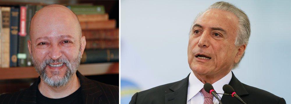 """""""O governo alega que o Brasil não pode perder tempo. É preciso cuidar de reformas como a da Previdência. É lorota. Deve-se a pressa de Temer ao medo do presidente de ser abalroado por novas delações"""", escreve o jornalista,citando Lúcio Funaro, Rodrigo Rocha Loures e Eduardo Cunha; """"Temer vive a neurose do que está por vir"""", diz"""