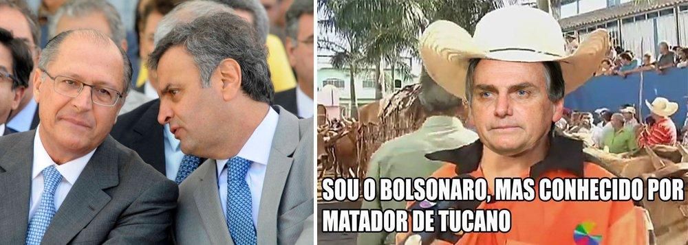 """Deputado federal Jair Bolsonaro (PSC-RJ) divulgou nesta segunda-feira, 6, em uma lista de transmissão do Whatsapp, um meme em que ridiculariza a decadência eleitoral do PSDB, que assiste à sua cúpula se afogar em denúncias de corrupção; """"Sou o Bolsonaro, mais conhecido como matador de tucano"""", diz o texto da montagem; pesquisa recente da CNT/MDA coloca Bolsonaro em segundo lugar na preferência do eleitor brasileiro para 2018, empatado com a ex-senadora Marina Silva (Rede); ex-presidente Lula lidera; perdido, PSDB já cogita lançar o prefeito de São Paulo, João Doria"""
