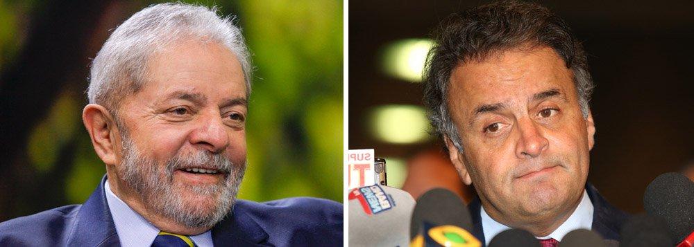 No reduto eleitoral do senador tucano, o ex-presidente Lula, alvo de perseguição jurídica e midiática, venceria as eleições presidenciais de 2018, de acordo com levantamento do instituto Paraná Pesquisas; o petista teria23,2%, contra 18,45% de Aécio Neves (PSDB-MG), que acaba de aparecer na lista de investigados do ministro Edson Fachin, do Supremo Tribunal Federal, liderando pedidos de investigação (cinco contra ele); Lula lidera em todos os cenários estimulados pela pesquisa; Aécio só sai vencedor quando disputa entre outros tucanos: João Doria, José Serra, Geraldo Alckmin e Beto Richa