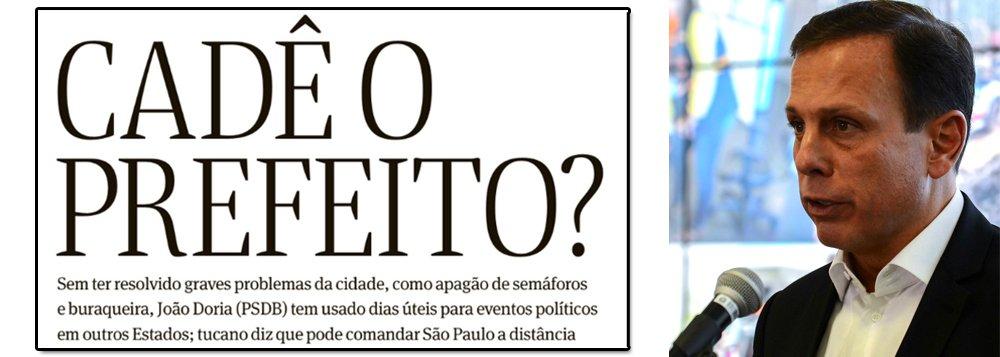 """""""Cadê o prefeito?"""", questiona a Folha de S.Paulo, em ampla reportagem sobre uma metrópole abandonada, cheia de buracos e com semáforos quebrados; a resposta é óbvia: João Doria, do PSDB, que se vende como João Trabalhador, abandonou o cargo e passou 30% de seu tempo viajando, fazendo campanha antecipada para a presidência da República; ontem, ele esteve em Natal (RN), onde foi escrachado, depois de receber uma ovada em Salvador (BA); na cara dura, Doria disse que pode administrar São Paulo à distância; ou seja: a maior cidade do Brasil tem um """"prefake"""", também chamado de ViajanDoria"""