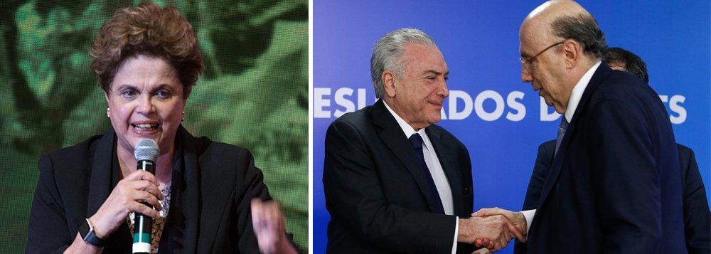 """Presidente legítima Dilma Rousseff criticou a mudança da meta fiscal deste ano pelo governo de Michel Temer, de um déficit de R$ 139 bilhões para um rombo de R$ 159 bilhões; em nota, Dilma disse que a meta deve ser ampliada para R$ 170 bilhões no Congresso; """"O que já era mentira, virou escândalo. O que era abuso, virou catástrofe. O que era esperteza, virou caos nas contas públicas. O resultado será a paralisia da máquina federal e a depressão da atividade produtiva. Ou seja: mais estagnação econômica e menos serviço público para quem precisa"""", disse Dilma"""