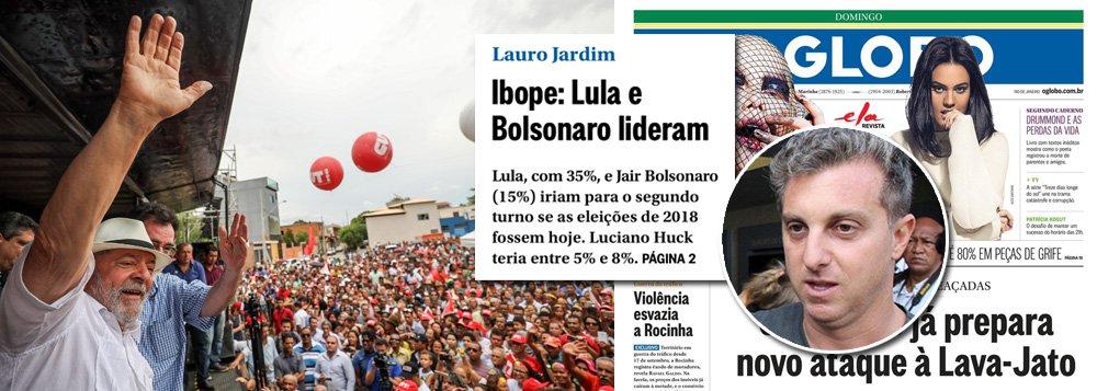 Em condições normais, o jornal O Globo teria feito estardalhaço com a sua primeira pesquisa Ibope sobre sucessão presidencial, em que o ex-presidente Lula aparece com chances de vencer a fatura já em primeiro turno; no entanto, como a Globo promove há mais de três anos uma guerra contra Lula que conseguiu arrasar a economia brasileira, a pesquisa foi escondida numa nota lateral na capa do jornal; outro motivo para noticiá-la de forma discreta é o baixo desempenho de Luciano Huck, o candidato de laboratório que a emissora dos Marinho tenta fabricar para governar o Brasil sem intermediários; como dizem os jovens, deu ruim para a Globo