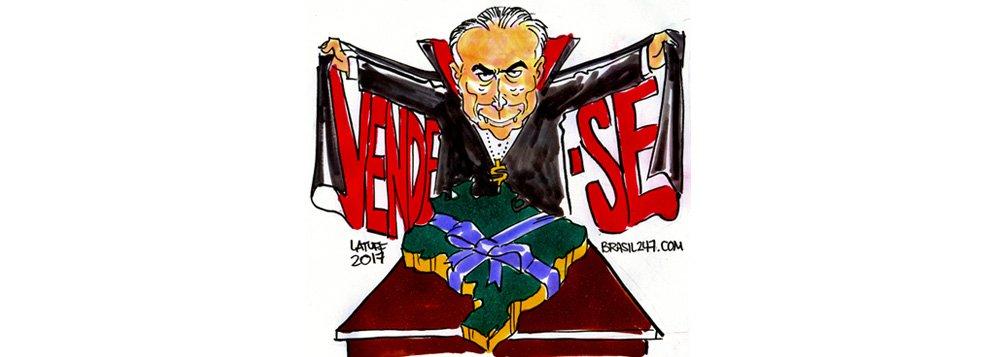 Na charge de Carlos Latuff, o novo programa de privatizações de Temer, que, mesmo sem voto, coloca o Brasil a venda e inclui no pacote até a Casa da Moeda; depois da Eletrobras, o governo anunciou nesta quarta-feira a privatização ainda da Lotex, além de colocar em leilão o aeroporto de Congonhas (SP) e uma série de outros projetos de infraestrutura