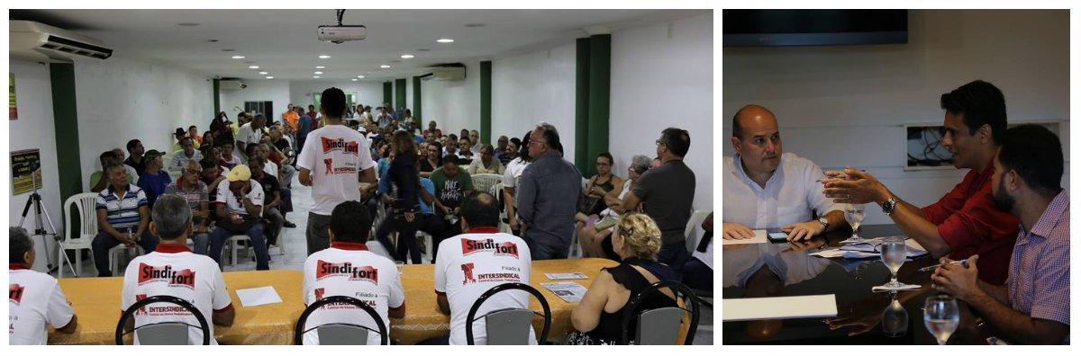 O Sindicato dos Servidores e Empregados Públicos do Município de Fortaleza (Sindfort) está convocando a categoria para um ato público em repúdio à posição da Prefeitura da Prefeitura de Fortaleza de não conceder qualquer reajuste salarial, em 2017. Naúltima da reunião da Mesa Central de Negociação, realizada dia 30 de maio, o prefeito Roberto Cláudio (PDT) afirmou que, por conta da crise econômica, não poderá conceder reajuste salarial e nem mesmo a reposição da inflação.A data base dos servidores municipais foi em 1º de janeiro e a categoria reivindica um reajuste de 13,60%