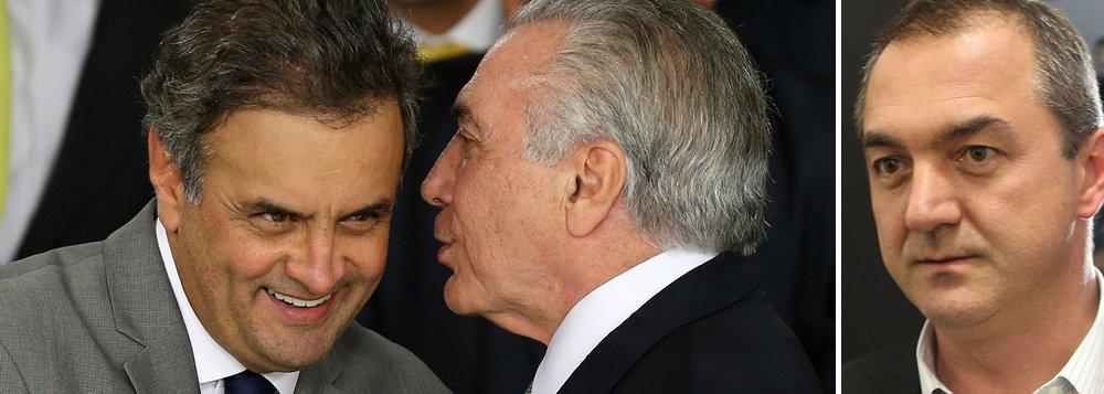 """Unha e carne, Michel Temer e Aécio Neves não param de se encontrar clandestinamente; foram seis encontros desde as gravaçõesde conversas entre o empresário Joesley Batista com ambos e de o tucano tornar-se réu no STF por conta do caso da J&F, em 17 de abril; Aécio """"não está tendo protagonismo político"""", garante Alckmin, temeroso do impacto da notícia sobre a intensa atividade de seu colega de partido"""