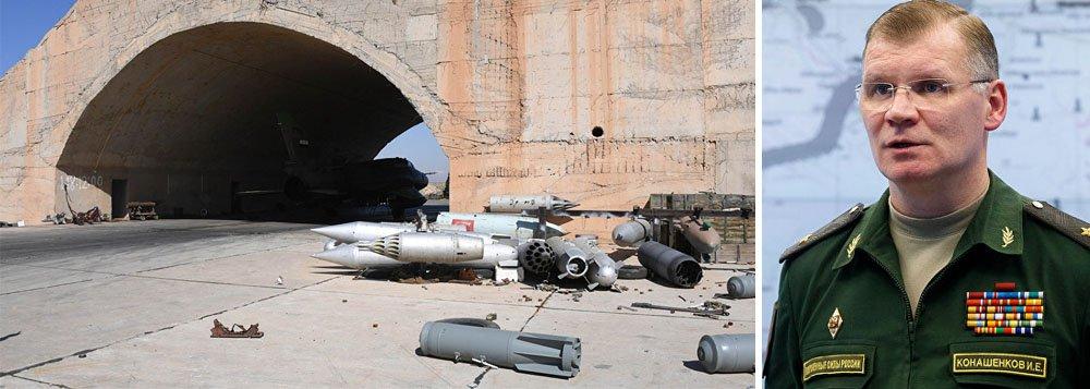 """Igor Konashenkov, representante oficial do Ministério da Defesa russo, afirmou nesta sexta-feira, 7, que apenas 23 mísseis lançados do destróier da Marinha norte-americana atingiram a base de Shayrat; não se sabe onde caíram os restantes 36, confirmados pelo governo norte-americano;""""Para proteger as infraestruturas sírias mais sensíveis, no futuro mais próximo será realizado um conjunto de iniciativas para reforçar a eficácia do sistema de defesa antiaérea da Síria"""", disse Igor Konashenkov"""