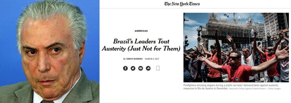 """Jornal norte-americano The New York Times critica a """"desigualdade"""" nas reformas fiscais em curso no Brasil; jornal relata que, enquanto os trabalhadores terão benefícios cortados, juízes e políticos têm aumentos de salários e cita que o Congresso, """"em vias de aprovar uma reforma previdenciária"""", agora está permitindo que seus membros obtenham pensão vitalícia depois de apenas dois anos; para o jornal americano, o governo defende que todos precisam aderir ao programa de austeridade, mas sua postura indica que """"a pressão é sobre os menos favorecidos"""""""