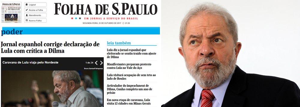 """Depois de atribuir a Lula uma fala contra Dilma que ele nunca disse, a Folha de S.Paulo culpou o jornal El Mundo pela publicação, ao informar que o veículo espanhol """"corrigiu a declaração""""; Folha e UOL divulgaram nesta segunda que Lula afirmou que """"Dilma traiu o eleitorado"""", enquanto o que o ex-presidente disse foi: """"as pessoas se sentiram traídas"""""""