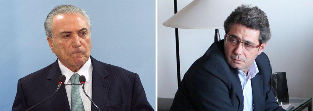 """""""Temer não desmentiu, até agora, a denúncia do diretor da JBS Ricardo Saud, que disse explicitamente aos procuradores da força-tarefa da Lava Jato que os 500 mil entregues ao deputado afastado Rocha Loures eram a primeira parcela de um mega suborno de 480 milhões de reais, que seriam pagos em 20 anos, 'que acertamos com Temer', se a questão do Cade fosse resolvida. Nem anunciou que vai processá-lo por mentir"""", observa Alex Solnik; """"A defesa de Temer fez questão de jogar os holofotes na fita, inclusive contratando um perito para mais confundir do que explicar, na tentativa de colocar em segundo plano o caso Rocha Loures, que é o escândalo a ser esclarecido. E até o STF embarcou nessa"""", diz ele"""