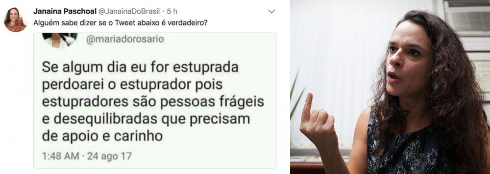 """Depois de protagonizar vários momentos ridículos no Twitter, a advogada Janaína Paschoal espalhou post falso sobre a deputada Maria do Rosário (PT-RS); a postagem dizia que a deputada """"perdoaria"""" alguém que a estuprasse porque """"estupradores são pessoas frágeis e desequilibradas, que precisam de amor e carinho""""; uma checagem simples no perfil da deputada bastaria para confirmar que a postagem é falsa"""