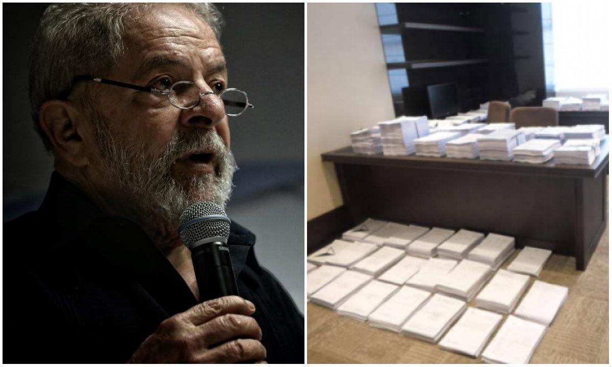 """""""Há seis meses, advogados do ex-presidente pediram acesso a documentos que só foram disponibilizados há uma semana. São 100 mil páginas"""", explicam os advogados do ex-presidente, que divulgaram uma foto que mostra a quantidade do material"""