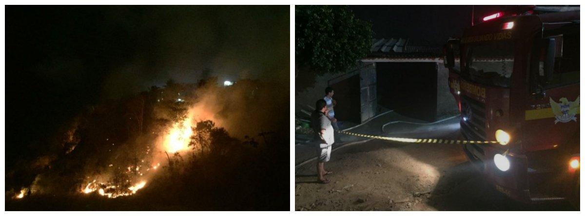 Um incêndio em uma área verde localizada no Sítio São Jorge, em Maceió, provocou destruição após avançar sobre imóveis; o Corpo de Bombeiros precisou usar 26 mil litros de água para controlar as chamas; ninguém ficou ferido, mas três imóveis foram atingidos e um deles ficou completamente destruído