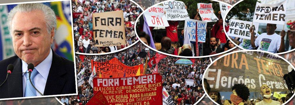 """""""Temer tem uma única opção, que é a renúncia, e esta é a melhor alternativa para o país, porque acelera o ritmo de superação da crise. Caso não renuncie, o MP pode solicitar ao STF seu afastamento imediato, para que seja julgado pelos crimes perpetrados no exercício do cargo – no mínimo por associação criminosa com Cunha, Padilha, Moreira Franco, Geddel e camarilha; corrupção e obstrução da justiça"""", diz o colunista Jeferson Miola; """"A eleição direta é a única alternativa democrática para o impasse político e institucional, porque permite o sufrágio de um programa legitimado pelo voto popular para dar início à reconstrução econômica e social do país e à restauração da democracia e do Estado de Direito"""""""