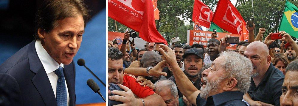 """Embota tenha apoiado o golpe parlamentar de 2016, o presidente do Senado, Eunício Oliveira (PMDB-CE), disse que caso o PMDB não lance candidato próprio à Presidência da República em 2018 apoiará uma eventual candidatura do ex-presidente Lula; """"Se não houver um entendimento nacional, se não houver uma aliança local que me obrigue diferente, eu sou eleitor do Lula"""", afirmou Eunício"""