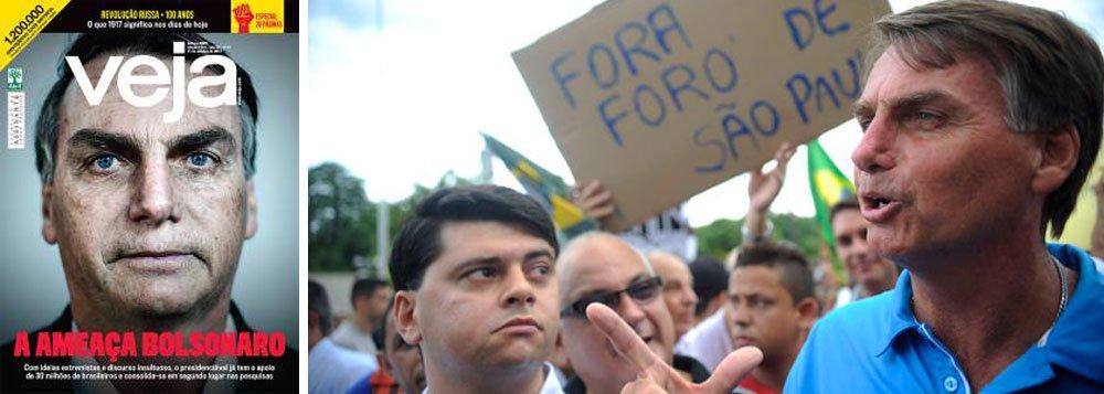 """A capa de Veja deste fim de semana é sintomática; ao tratar o deputado Jair Bolsonaro (PSC-RJ) como """"ameaça"""", a revista da Abril, que contribuiu para criminalizar a política com seu jornalismo de guerra movido contra o ex-presidente Luiz Inácio Lula da Silva e a presidente deposta Dilma Rousseff, tenta destruir o monstro do fascismo que ela própria ajudou a alimentar; o plano da direita brasileira era promover um golpe e realizar uma """"ponte para o futuro"""", que seria a volta do PSDB ao poder; como deu tudo errado, a mudança de rota agora prevê o combate ao maior beneficiário do ambiente de ódio e desesperança implantado no País por publicações como Veja"""