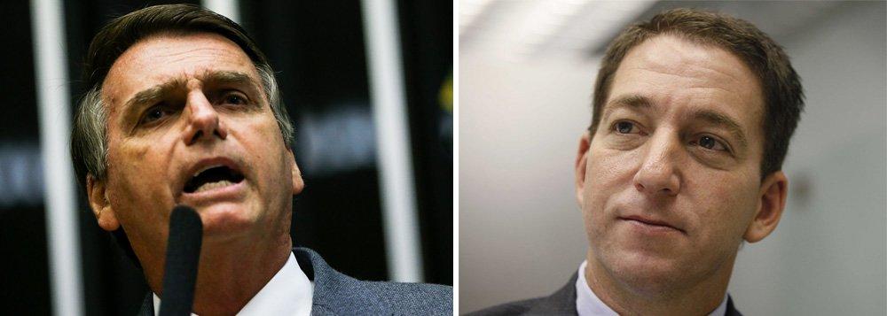 """Deputado e pré-candidato à presidência, Jair Bolsonaro respondeu a uma crítica do jornalista americano Glenn Greenwald, que vive no Rio de Janeiro, de forma ofensiva e preconceituosa; """"'Você queima a rosca?' Não me importo! Seja feliz! Abraços para você!""""; o que ele não esperava era uma piada na resposta do próprio jornalista:""""o deputado fascista e candidato a presidente em 2018 responde minha crítica com uma nobre referência ao sexo anal gay, sempre em sua cabeça"""""""