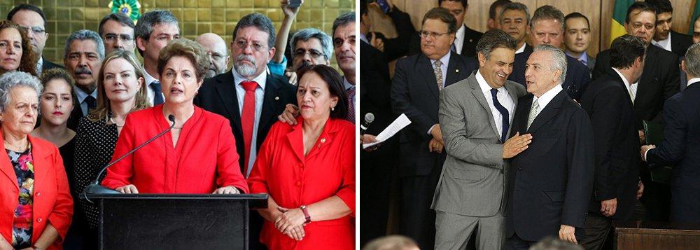 """Foi assim que a presidente deposta Dilma Rousseff classificou o ministério de Michel Temer, um ano atrás, quando foi derrubada pela conspiração liderada pelo senador Aécio Neves (PSDB-MG) e pelo ex-deputado Eduardo Cunha (PMDB-RJ), um recordista em inquéritos na Lava Jato e outro condenado a 15 anos de prisão; os bastidores da queda estão no primeiro capítulo do livro do jornalista Olímpio Cruz Neto, que viveu momentos dramáticos ao lado de Dilma; """"Só há notórios. Um CCC"""", disse Dilma; """"Antes mesmo que eu perguntasse osignificado da sigla, ela lista: 'canalhas, calhordas e corruptos'; leia o trecho"""