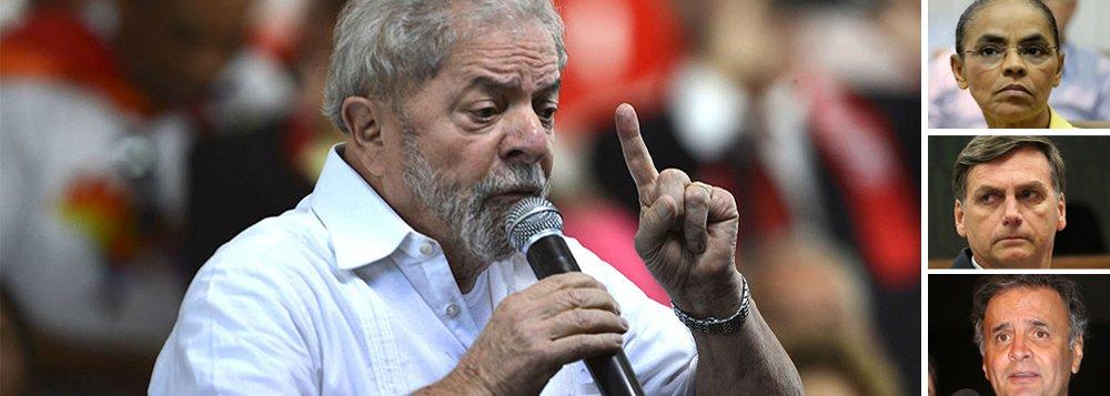 Perseguição judicial, que ficou escancarada com a decisão de ontem do Supremo Tribunal Federal, não foi suficiente para derrubar o ex-presidente Luiz Inácio Lula da Silva; pesquisa CNT/MDA mostra que Lula lidera a preferência do eleitor brasileiro, com 30,5% de intenções de voto; a ex-senadora Marina Silva (Rede) e o deputado Jair Bolsonaro (PSC) brigam pelo segundo lugar, com 11,8% e 11,3%, respectivamente; senador Aécio Neves (PSDB), articulador do golpe, aparece em terceiro, com 10,1%; Ciro Gomes (PDT) vem em quarto lugar, com 5%; Michel Temer tem apenas 3,7% de intenções; Lula lidera em todos os cenários para primeiro turno