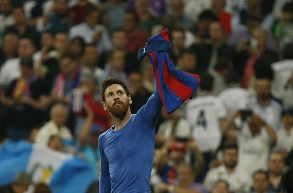 Lionel Messi, do Barcelona, celebra seu terceiro gol em partida, na Espanha. 23/04/2017 Reuters /Susana Vera Livepic