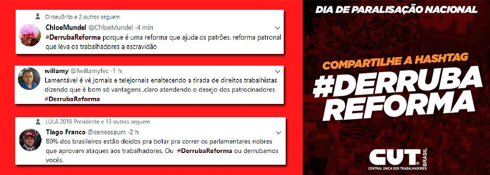 Além das mobilizações pelas ruas do país, os trabalhadores também se manifestam nas redes sociais contra as mudanças na legislação trabalhista que passam a valer a partir deste sábado (11).; na manhã desta sexta-feira (10) a hashtag #DerrubaReforma, que reivindica a revogação da 'reforma' trabalhista do governo Temer, foi um dos assuntos mais comentados do Twitter em São Paulo