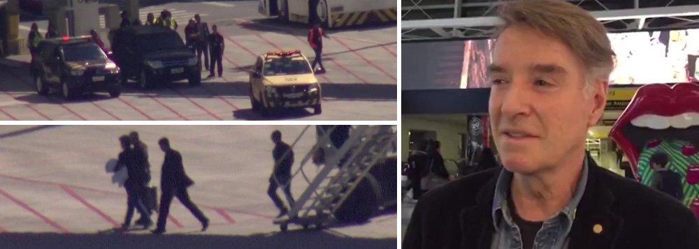 O avião que trouxe o Eike Batista de Nova York para o Rio de Janeiro pousou há pouco no Aeroporto Internacional Tom Jobim/Galeão; agentes da Polícia Federal prenderam o empresário logo após ele desembarcar do avião; Eike embarcou no domingo (29), no Aeroporto John F. Kennedy, em Nova York, em um voo da American Airlines; suspeito de lavagem de dinheiro em um esquema de corrupção que também atinge o ex-governador do Rio Sérgio Cabral, que está preso, Eike Batista foido posto de mais badalado do país ao de presidiário