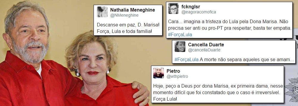 Solidariedade à ex-primeira-dama Marisa Letícia é o assunto mais comentado no Twitter nesta quinta-feira, 2; milhares de seguidores e simpatizantes deixam mensagens de apoio a Dona Marisa, que teve piora em seu quadro clínico e morte cerebral confirmada, e pedidos de respeito à família do ex-presidente Luiz Inácio Lula da Silva