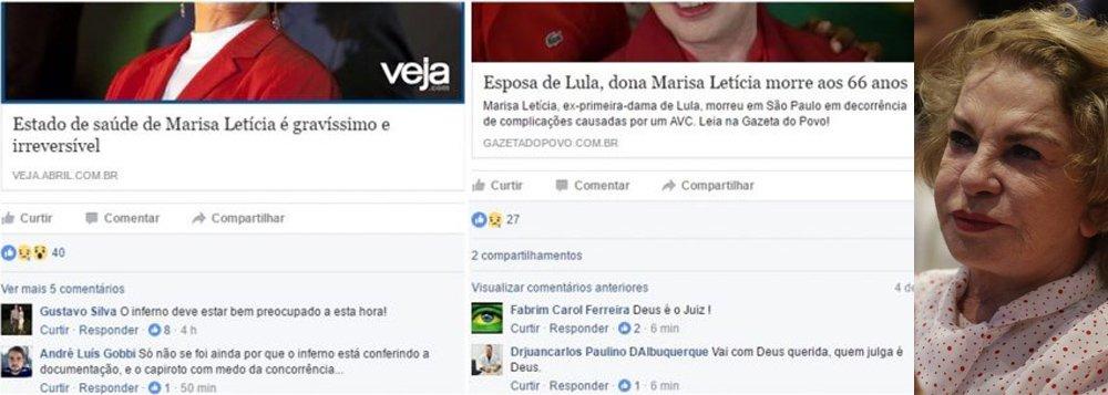Morte da ex-primeira-dama Marisa Letícia Lula da Silva, nesta quinta-feira, 2, vítima de complicações de um AVC hemorrágico, reativou uma onda de ódio nas redes sociais; leitor que participa da comunidade 'Dignidade Médica' — grupo fechado reservado a médicos no Facebook — printou e enviou ao site Pragmatismo Político a repercussão da morte de dona Marisa naquele canal, que, em teoria, deveria exalar ética e humanidade; no entanto, a insensibilidade ali captada foi ainda mais impactante