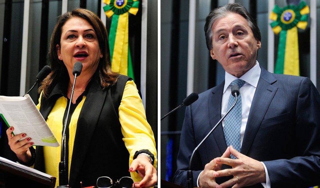 Senadora Kátia Abreu (PMDB-TO) ofereceu, em sua residência em Brasília (DF), um jantar ao senador Eunício Oliveira (PMDB-CE), que deve ser eleito presidente do Senado e do Congresso esta semana em função da proporcionalidade da bancada do PMDB, a maior da Casa. Participaram 13 dos 19 senadores do PMDB; além de Kátia e Eunício, compareceram ao jantar senadores peemedebistas como Renan Calheiros (AL), Marta Suplicy (SP), Jader Barbalho (PA) e Edison Lobão (MA)