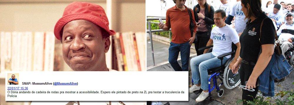 Depois que o prefeito João Doria se fantasiou de cadeirante para testar a acessibilidade das ruas de São Paulo, o perfil Mussum Alive, do Twitter, lhe deu uma nova sugestão: pintar-se de preto para testar a violência policial
