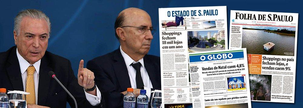"""O Indicador de Incerteza da Economia da Fundação Getulio Vargas (FGV) aumentou pelo segundo mês seguido em dezembro, ao passar de 126,4, no mês anterior, para 136,4 pontos - o maior nível desde julho; em dezembro, o que mais contribuiu para a alta do índice foi o componente """"mídia""""; segundo o estudo, o resultado sinaliza um aumento expressivo no número de notícias com menção à incerteza em matérias sobre economia na imprensa brasileira; Fernando Brito, do Tijolaço, afirma que """"a queda é devastadora e leva o índice para as cercanias do que tinha sido registrado no pré-impeachment""""; """"Curioso é que boa parte da queda nas expectativas vem do efeito da mídia que, como no período anterior à derrubada de Dilma, pesava mais no pessimismo que a situação objetiva dos negócios"""""""