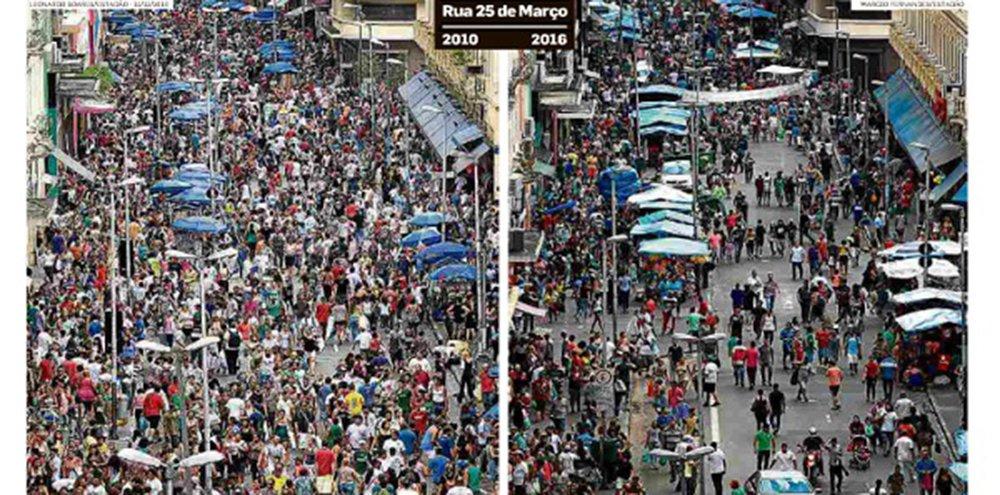 """""""Nenhum texto, reportagem ou análise econômica, pode ser tão expressivo do que se passa no Brasil que o par de fotos estampados hoje na capa do Estadão. Há na rua, menos da metade das pessoas que havia há seis anos, naquele 2010 do qual muita gente já esqueceu"""", diz o jornalista Fernando Brito sobre o retrato da crise econômica do País; """"O cerne do projeto neoliberal é este: fazer 'desaparecer' uma parte da população. Que não vai à 25 de março, que não vai mais ao hospital, ou irá a um mais precário, como mais precária serão suas escolas, suas periferias, suas casas lá onde a elite não as vê"""""""