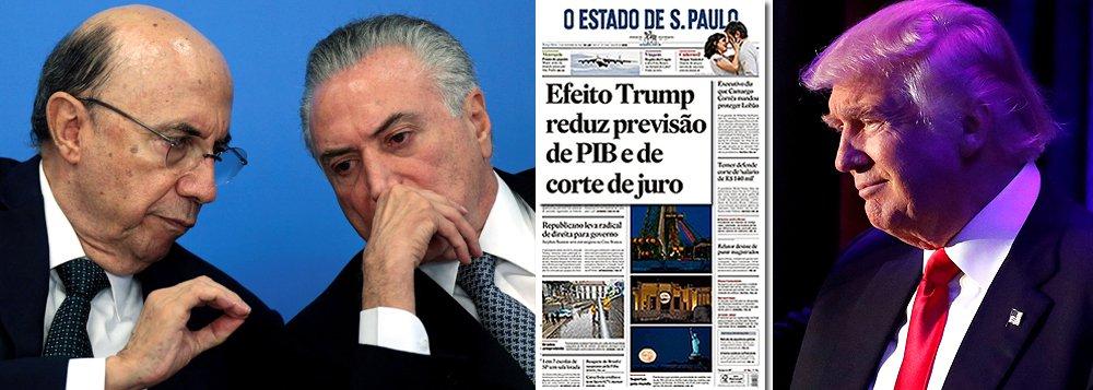 """Arruinada pelo golpe parlamentar de 2016, a economia brasileira encontrou agora um bode expiatório para sua incapacidade de reagir: Donald Trump; pelo menos é essa a versão dos meios de comunicação que se associaram a esse processo; na manchete do Estado de S. Paulo desta terça-feira, """"informa-se"""" que, em razão do """"efeito Trump"""", o crescimento será ainda menor em 2017 – em vez de 1,20%, apenas 1,13%; ou seja: uma diferença de gigantescos!!! 0,07 pontos; há mais de seis meses no poder, a dupla Temer-Meirelles piorou quase todos os indicadores econômicos e ainda não indiciou um caminho para a retomada do crescimento"""