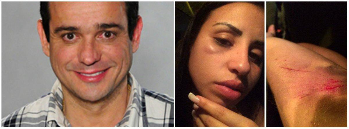 """O ator Hugo Gross negou envolvimento com as agressões que sua ex-mulher, a modelo Jéssica França Ferreira, de 24 anos, diz ter sofrido na portaria de seu prédio na Zona Oeste do Rio; ele enviou um vídeo que mostra uma mulher, que seria Jéssica, causando danos em sua portaria; a Polícia afirma que recebeu as imagens e que investiga o vídeo; segundo o ator, funcionários do prédio disseram que, após Hugo se recusar a atender à ex-esposa, """"ela começou a quebrar tudo, se jogou no chão, puxou o próprio cabelo, arrancou um pouco e colocou na bolsa"""" Hugo disse que Jéssica não aceitou o término do relacionamento"""