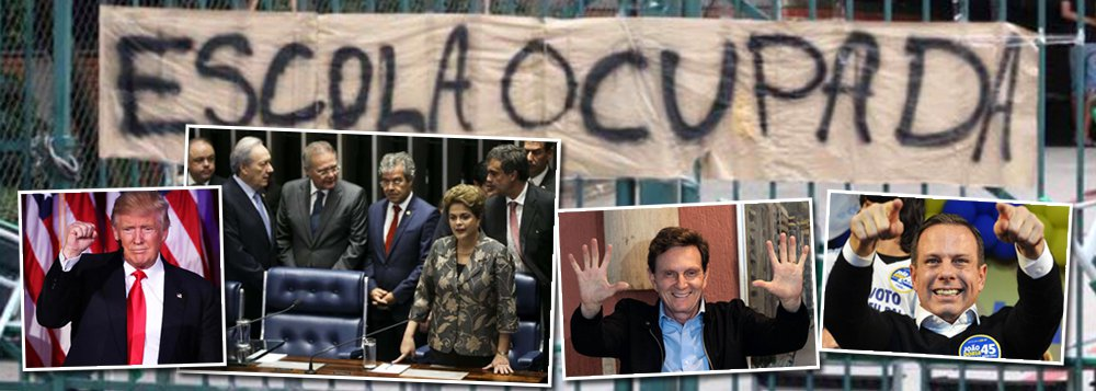 O advogado Felipe Campanuci Queiroz, mestrando em Políticas Públicas e Formação Humana na UERJ, assina artigo no qual faz uma retrospectiva da política no Brasil e no mundo; ele cita a queda de Dilma, a falência do Estado do Rio, as eleições municipais, com as vitórias de Crivella no Rio e Dória em SP; o articulista ainda fala do Brexit, da morte de Fidel Castro, da eleição de Donald Trump e das ocupações das escolas no Brasil contra a PEC 55; confira na íntegra