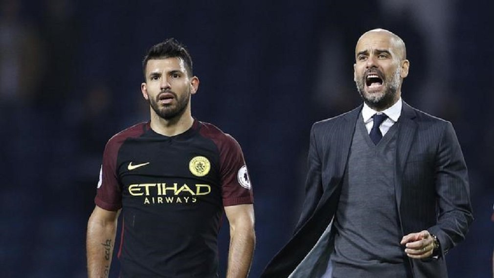 Britain Football Soccer - West Bromwich Albion v Manchester City - Premier League - The Hawthorns - 29/10/16 Manchester City manager Pep Guardiola with Manchester City's Sergio Aguero after the match Reuters / Darren Staples Livepic