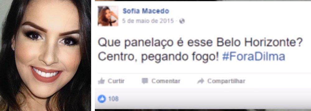 """Suspeita pela Polícia Federal de contratar uma quadrilha especializada em fraudes no Exame Nacional do Ensino Médio (ENEM) 2016 e em outros concursos realizados no País, a estudante Sofia Azevedo Macedo, moradora do Vale do Jequitinhonha, se manifestou contra a corrupção no Brasil, pedindo """"Fora, Dilma""""; com ponto eletrônico, ela respondia com tosses às perguntas do membro da quadrilha que tentava fraudar o Enem"""