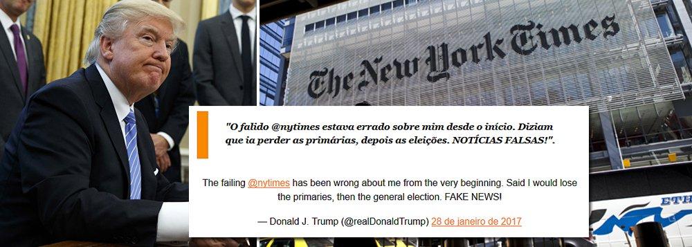 """""""O falido @nytimes estava errado sobre mim desde o início. Diziam que ia perder asprimárias, depois aseleições. NOTÍCIAS FALSAS!"""", postou neste sábado o presidente dos Estados Unidos, Donald Trump"""