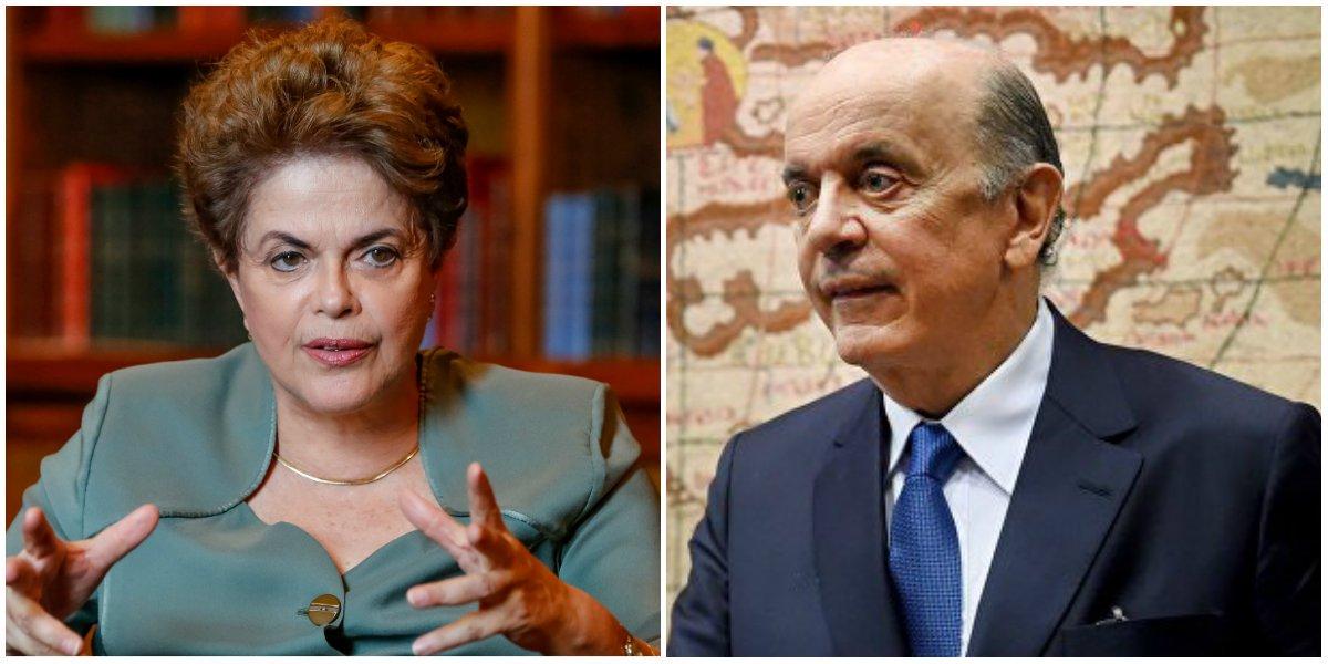 """Em nota à imprensa, neste sábado (3), a ex-presidente Dilma Rousseff criticou a decisão do Mercosul, que contou com o apoio do governo do Brasil, de suspender a Venezuela; """"A medida mostra a pequenez do governo do Brasil diante das exigências da América Latina"""", disse; para Dilma, a suspensão é um """"recurso extremo e inadequado""""; a ex-presidente ainda afirmou que """"só faz política externa com porretes e ameaças de um país imperial""""; ontem, ao defender a medida, o chanceler José Serraafirmou que a Venezuela """"aporrinha"""" o Mercosul; a chanceler venezuelana, Delcy Rodriguez lamentou a decisão edisse que """"os ares golpistas chegaram ao Mercosul"""""""