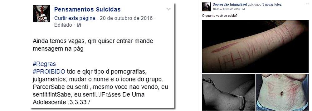 O caso da menina de 11 anos, moradora do bairro Cristo Rei, zona Sul de Teresina, vítima de automutilação incentivada por um grupo de WhatsApp chamado 'Pensamentos Suicidas', deixou muitos pais em estado de alerta; o grupo 'Pensamentos Suicidas' foi criado em agosto de 2016 e é composto por membros de todos os Estados brasileiros. O grupo possui uma página no Facebook com 5.415 curtidores onde os jovens solicitam para entrar no grupo do WhatsApp