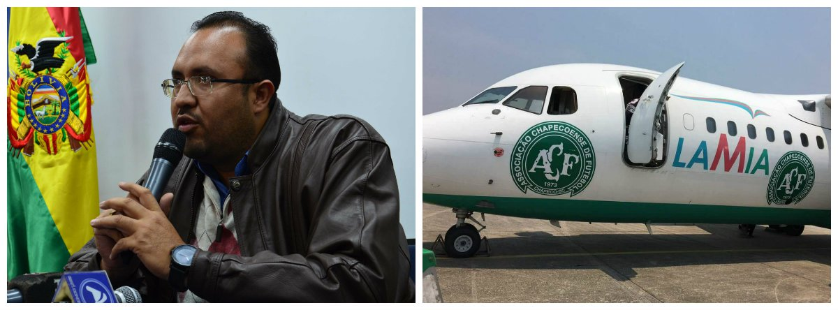 Ministro de Obras Públicas da Colômbia, Milton Claros; avião da Lamia