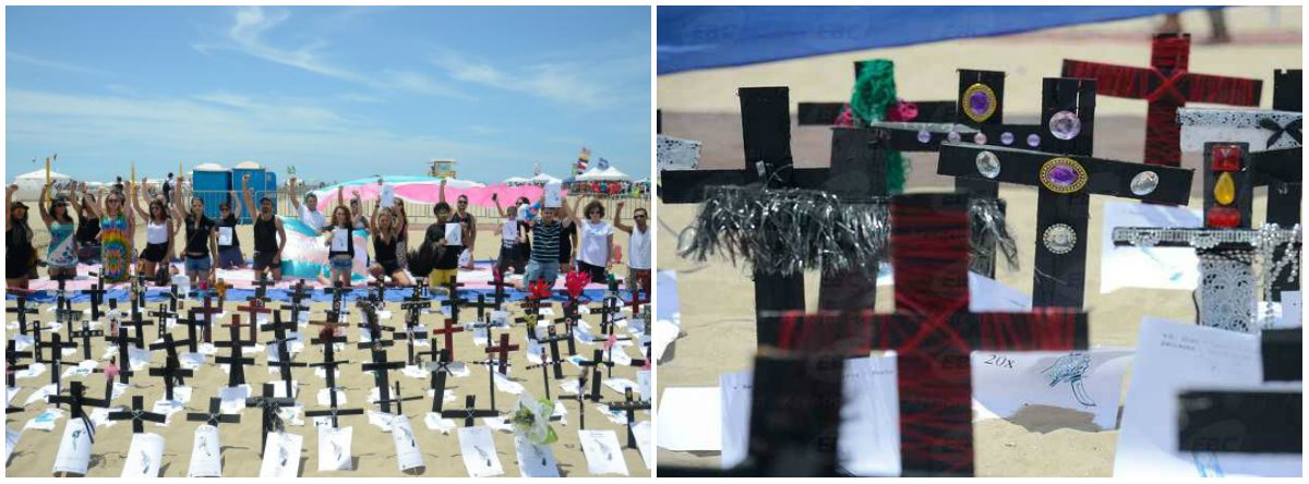 No Dia da Visibilidade Trans, comemorado neste domingo (29), foram fincadas 144 cruzes pretas na areia da Praia de Copacabana, uma para cada transexual ou travesti mortas no ano passado por causa do preconceito, em todo o País, de acordo com levantamento da ONG Rede Trans Brasil; presidente da entidade, Tathiane Araújo afirma que o número faz do Brasil um dos campões de mortes de pessoas trans no mundo; segundo ela, a exclusão começa em casa, quando pais se recusam reconhecer a identidade de alguém que não se identifica com o sexo designado ao nascer, o que é o caso de pessoas trans