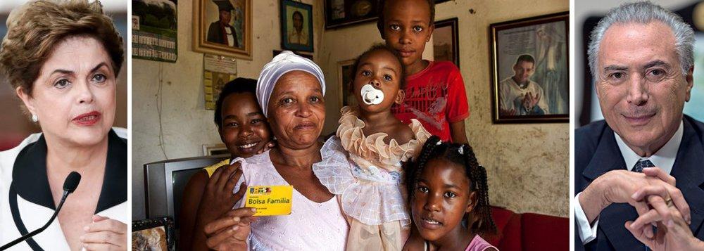 """Após o anúncio do governo de Michel Temer de que cancelou e bloqueou contratos de 1,1 milhão de beneficiários do Bolsa Família, após um """"pente-fino"""" que foi divulgado como uma ação nova, mas já era realizada nos governos do PT, Dilma Rousseff diz que o atual presidente tenta """"desmerecer o programa social""""; """"As chamadas 'irregularidades' viraram manchete, como se o 'pente-fino' fosse uma demonstração da qualidade de gestão do governo Temer. No entanto, uma simples busca na internet desmonta essa tese e a tentativa de desmerecer o programa"""", diz; ex-secretária nacional de Assistência Social do governo Dilma, Ieda Castro explica que """"o que eles chamam de fraude é um processo de revisão que acontece sistematicamente em relação ao benefício""""; """"Isso é uma mentira"""", critica"""