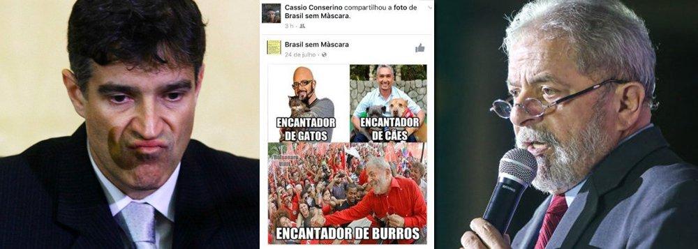 """O promotor Cássio Conserino, que investigou o caso do chamado """"triplex do Guarujá"""",usou sua conta no Facebook para atacar Lula, chamando o ex-presidente de """"encantador de burros""""; como promotor, Conserino deveria saber que expor suas preferências políticas nas redes é um ato pouco inteligente, já que é público e o expõe como acusador por motivos outros que não a lei"""