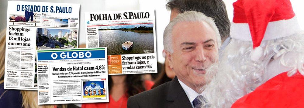 Os três principais jornais do Brasil, que apoiaram o golpe parlamentar de 2016, processo que quebrou a economia brasileira, são também responsáveis pelas manchetes que estampam nas suas páginas nesta terça-feira 27; no Estado, destaque para as 18 mil lojas fechadas em um ano – fato inédito; na Folha, o recuo de 9% nas vendas dos shoppings; no Globo, a queda geral de 4,8%; responsáveis por colocar Michel Temer no poder, os jornais são também sócios deste grande fracasso nacional, mas ainda devem um mea culpa coletivo ao País