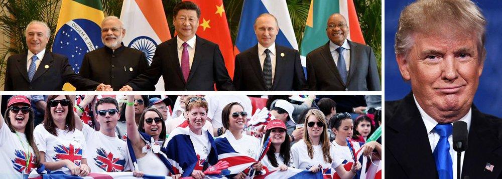 """""""O mundo que surge do Brexit, da eleição de Trump, da profunda crise da União Europeia e, sobretudo, dos Brics, é um mundo de transição entre aquele da globalização comandada pelos EUA e seu modelo neoliberal, e o que aponta para mecanismos de retomada do crescimento, de resolução negociada dos conflitos internacionais, de fortalecimento dos Estados nacionais e dos processos de integração regional e de intercâmbio Sul-Sul"""", diz o colunista Emir Sader; no entanto, ele afirma que """"na contramão dessas fortes tendências mundiais, o Brasil, com o golpe, assume uma política externa medíocre e conservadora"""""""